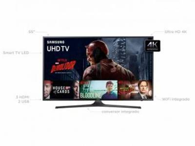 Foto Smart TV LED 55 Samsung 4K/Ultra 55KU6000 - Conversor Digital Wi-Fi HDMI USB Bivolt - 55 4
